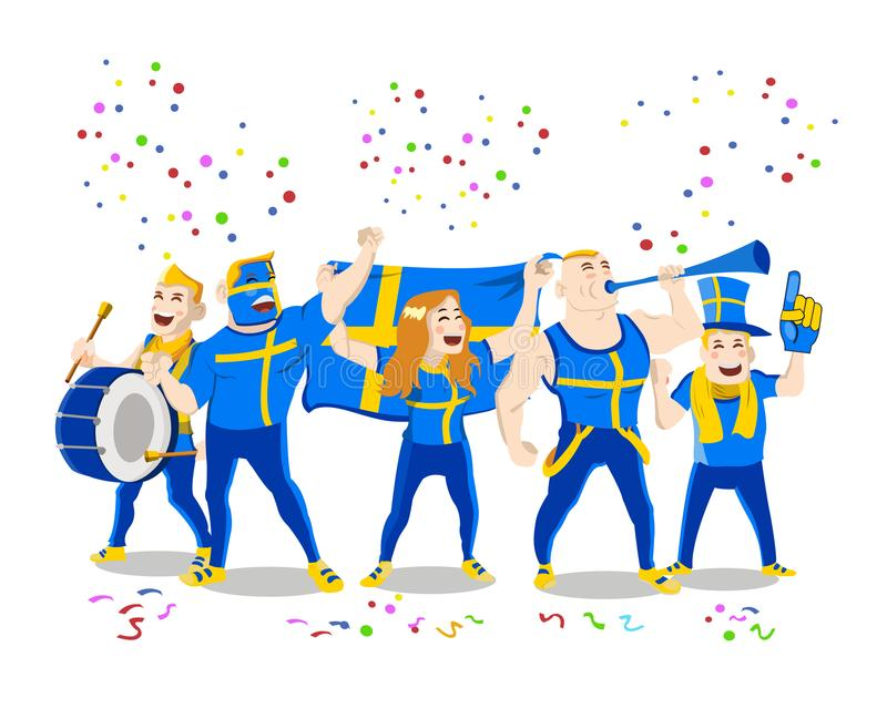Cheerful Sweden National Football Team Supporter Crowd Having Fun vector illustration