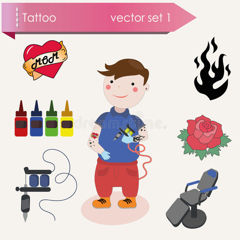 Cheerful tattooist with the tattoo machine in hand. stock illustration