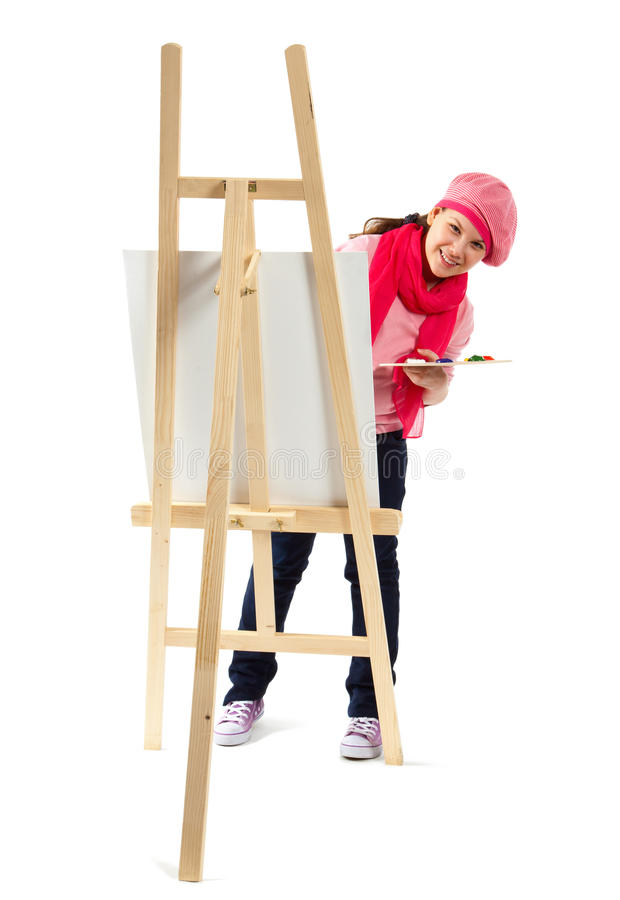 Girl is young artist royalty free stock images