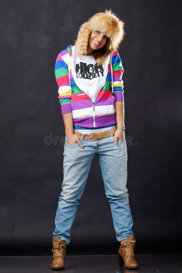 Cheerful teenage girl stock photos