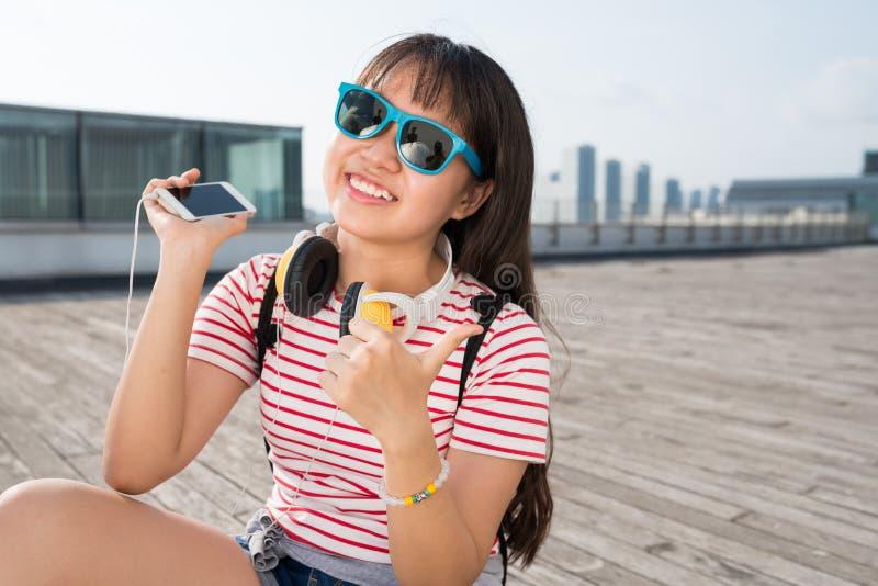 Cheerful teenage girl stock images