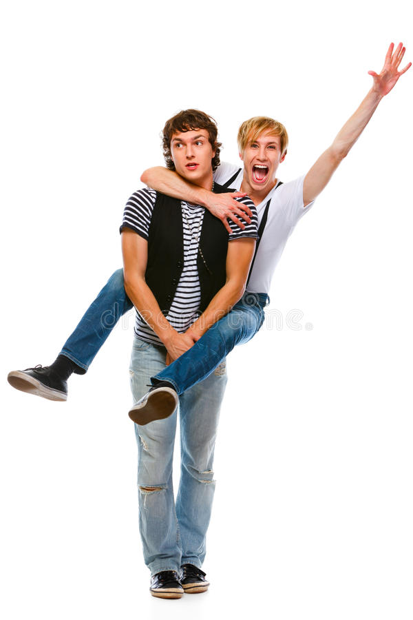 Download Cheerful Teenager Piggy Backing His Friend Stock Image - Image: 21923723