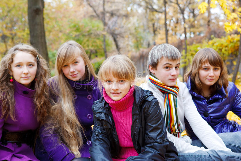 Download Cheerful teens in the fall stock image. Image of fall - 16647545