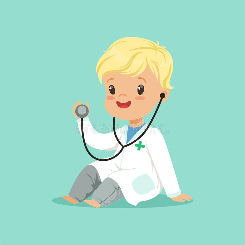 Cheerful toddler boy in white medical gown playing doctor role with stethoscope. Flat design vector illustration. Cheerful toddler boy in white medical gown vector illustration