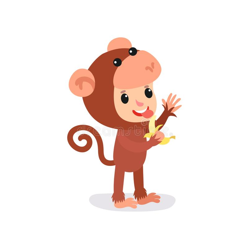 Cheerful toddler in brown monkey jumpsuit with banana in hand. Children costume of animal. Flat vector design for banner. Cheerful toddler in brown monkey vector illustration
