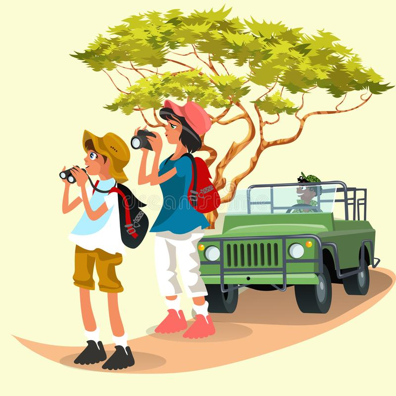 Cheerful tourists taking pictures and watching in binoculars royalty free illustration