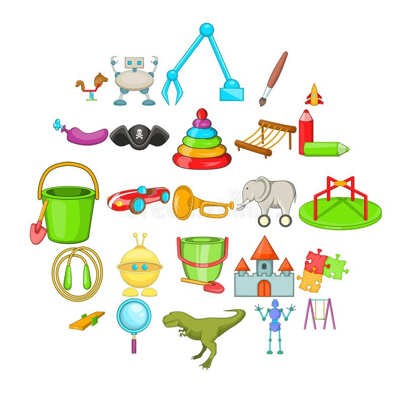 Cheerful toy icons set, cartoon style. Cheerful toy icons set. Cartoon set of 25 cheerful toy vector icons for web isolated on white background vector illustration