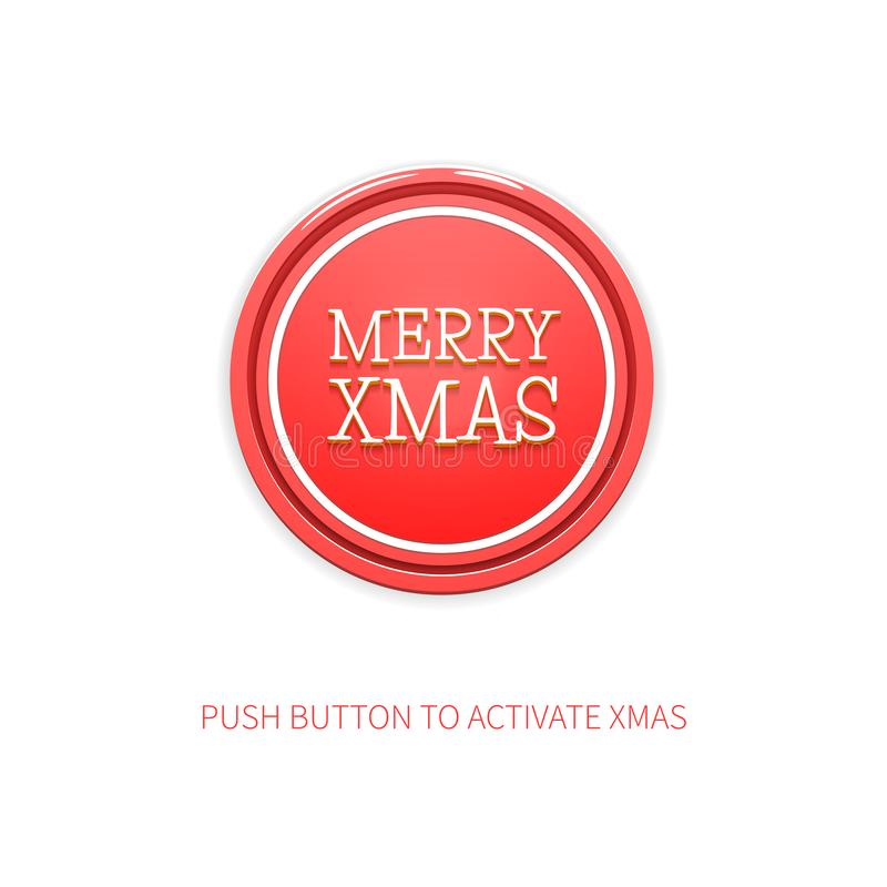 Cheerful Vector Minimalist Background for Christmas. Vector Illustration of Red Round Button with Title Merry Xmas and vector illustration