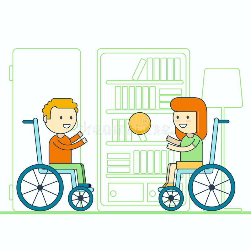 Cheerful wheelchair user boy and girl throwing ball. Happy smiling disabled toddlers playing game. Physically challenged children. Or kids lifestyle portrait royalty free illustration