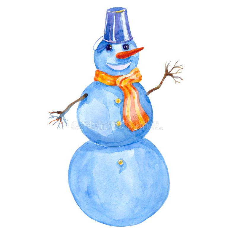 Cheerful winter smiling snowman. watercolor illustration stock photography