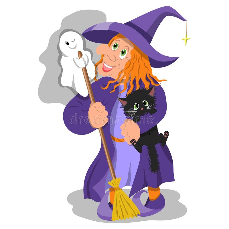Cheerful witch with a Ghost and a kitten royalty free stock image