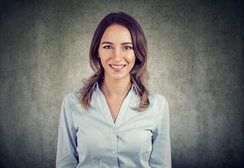 Portrait of a cheerful business woman royalty free stock photos