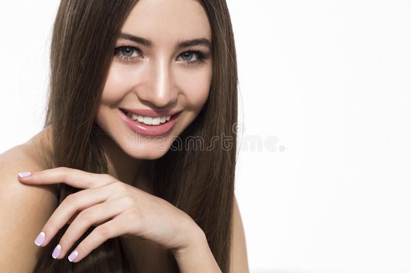 Cheerful woman with brown hair stock photography