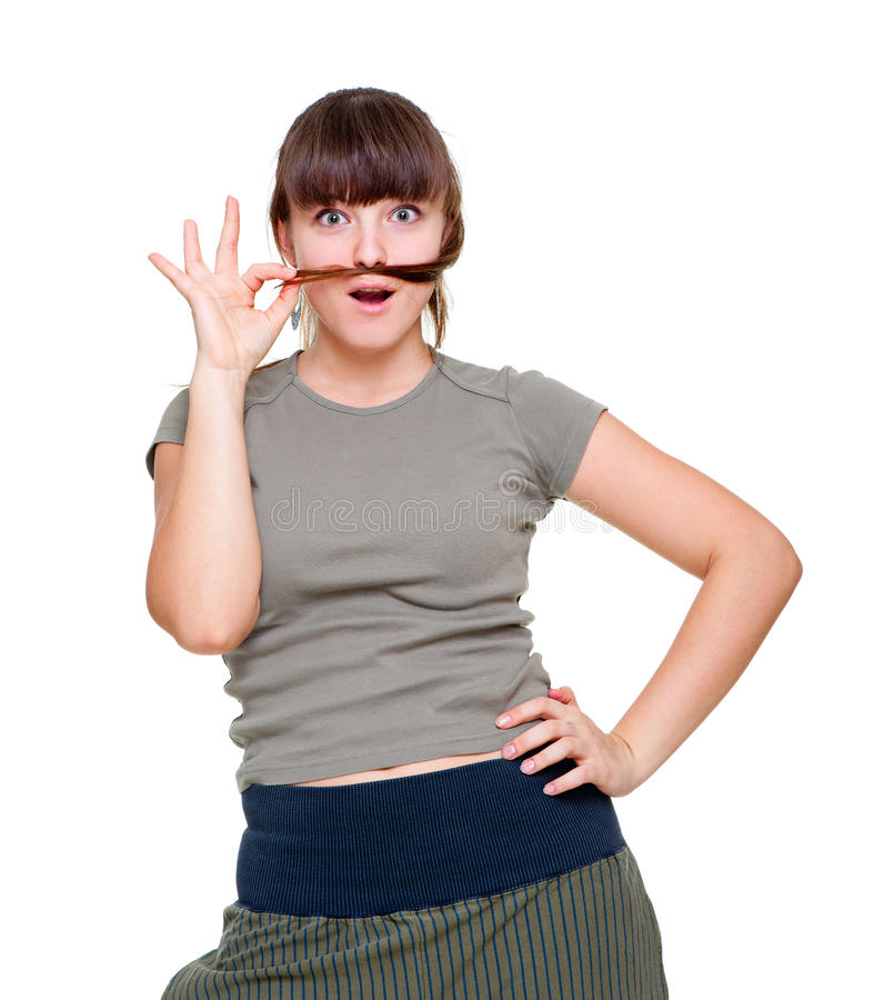 Cheerful Woman Doing Moustache From Her Hair Stock Images