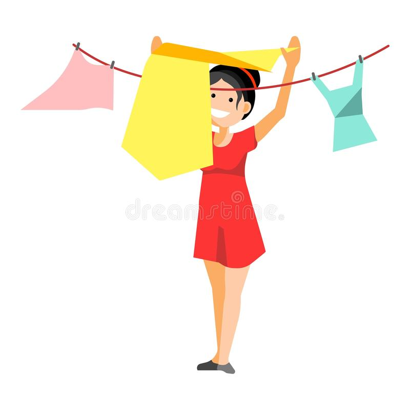 Cheerful woman drying clothes. Smiling woman putting clothes for washing on rope isolated on white stock illustration