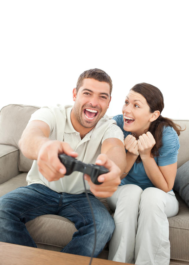 Cheerful Woman Encouraging Her Boyfriend Stock Image