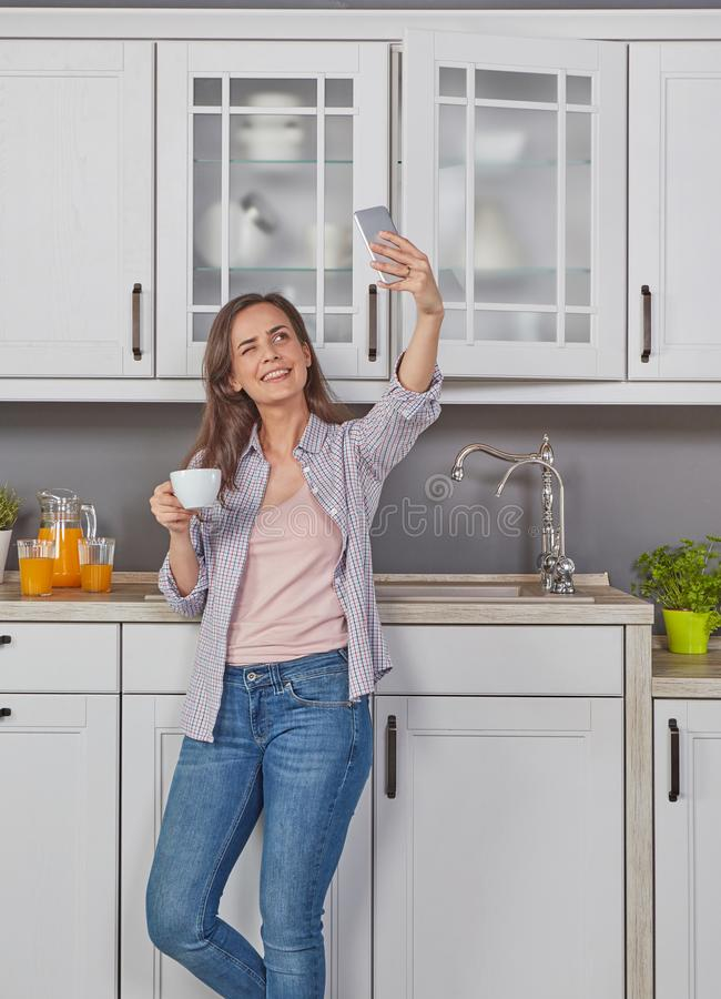 Morning coffee and morning selfie stock photos