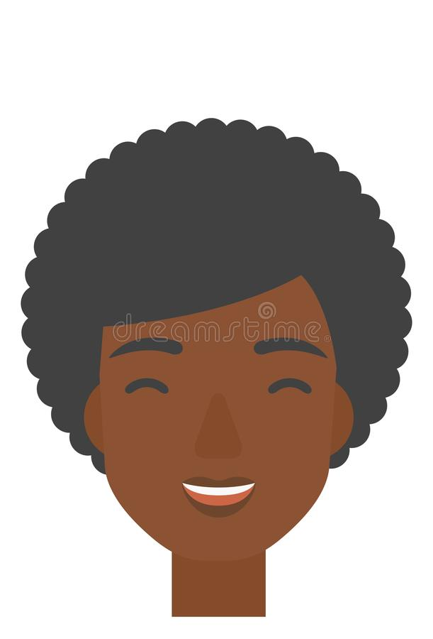 Cheerful woman experiencing euphoria. An african-american cheerful woman experiencing euphoria vector flat design illustration isolated on white background vector illustration