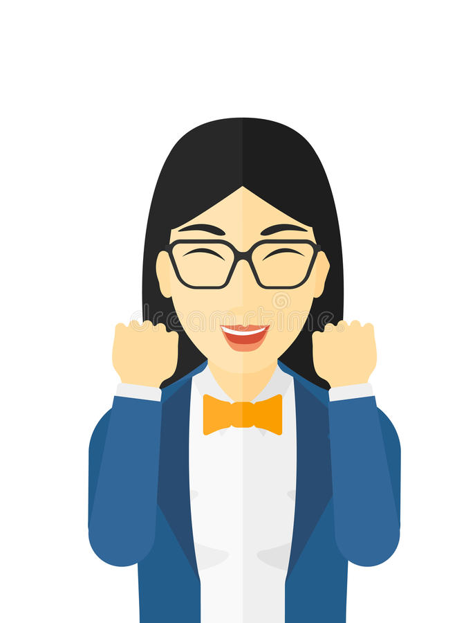 Cheerful woman experiencing euphoria. Cheerful woman in euphoria with raised hands and closed eyes vector flat design illustration on white background royalty free illustration
