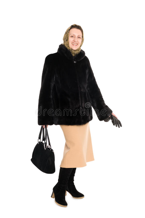 Download Cheerful  Woman In Fur Coat Of Mink. Stock Image - Image of charming, length: 22716089