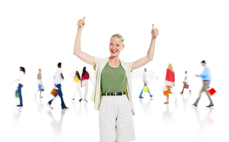 Cheerful Woman Giving Thumbs Up royalty free stock photos