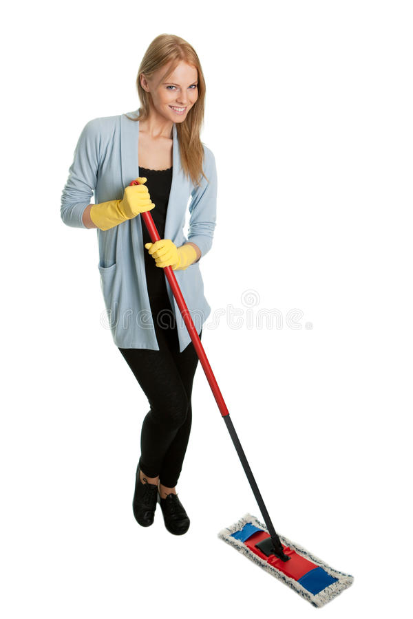 Cheerful Woman Having Fun While Cleaning Royalty Free Stock Image