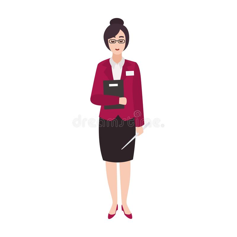 Cheerful woman primary school teacher or educational worker holding book and pointer. Smiling female cartoon character vector illustration