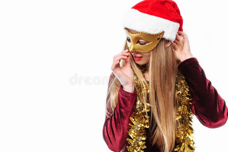 Sad Santa With Gas Mask - Environmental Concept Stock Image