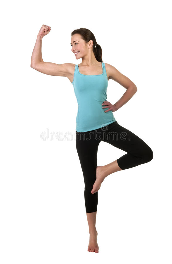 Download Cheerful Woman Showing Her Muscles Stock Image - Image: 28432435