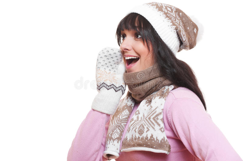 Cheerful woman whispering gossip stock photos