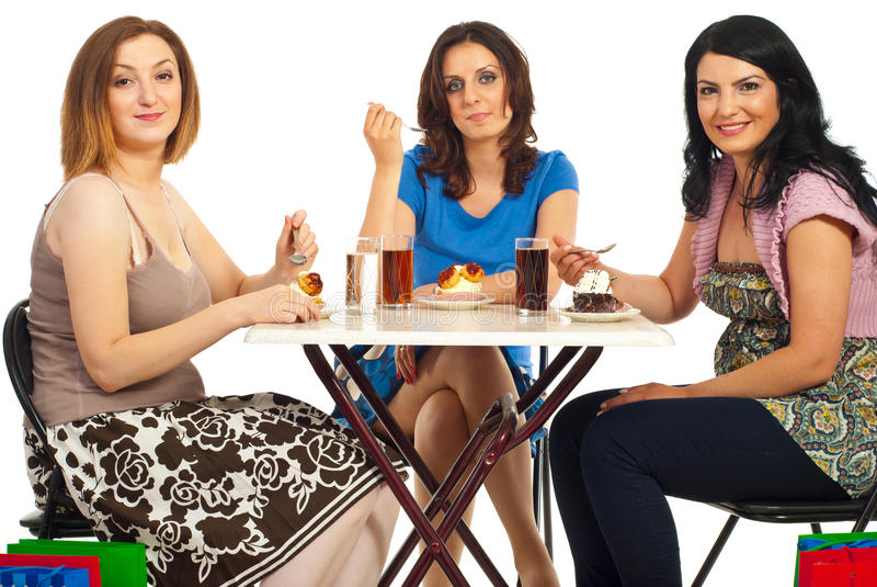 Download Cheerful Women Eating Dessert At Table Stock Photo - Image: 19684446