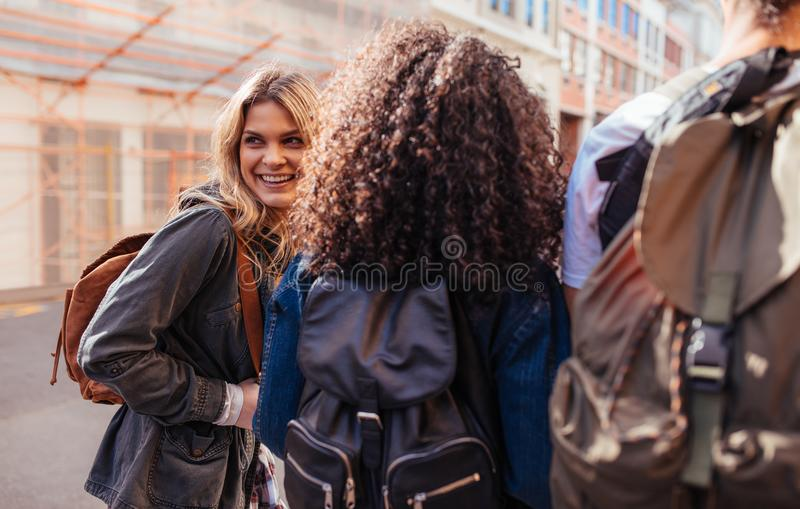 Group of friends exploring the city royalty free stock photography