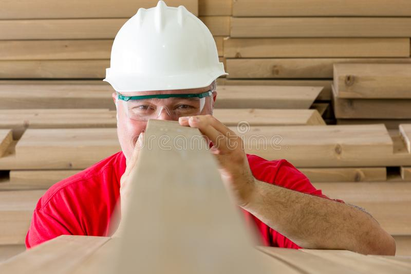 Cheerful worker inspecting quality of wooden plank royalty free stock images