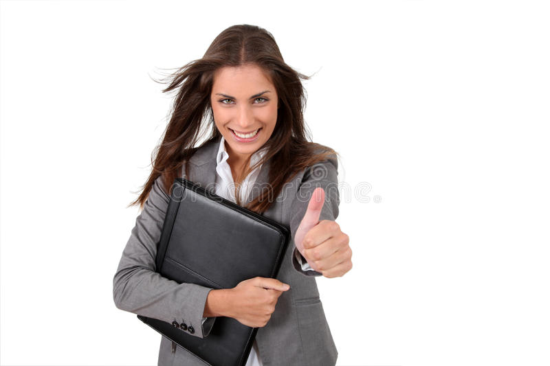 Download Cheerful working girl stock image. Image of smiling, showing - 20688299