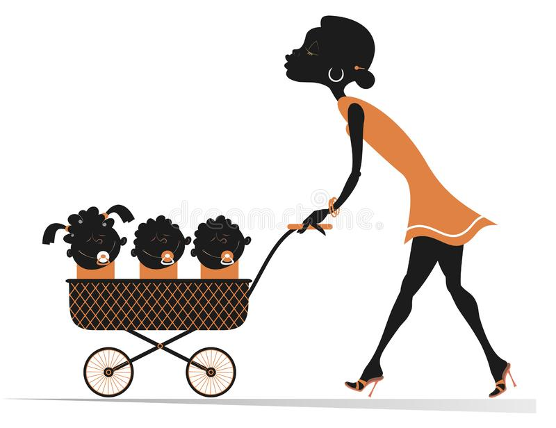African woman with children in the stroller illustration. Cheerful young African woman carries a stroller with three babies in isolated on white illustration vector illustration