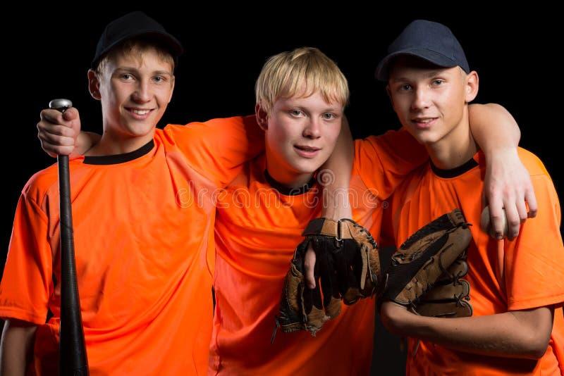 Cheerful young baseball players stock photography
