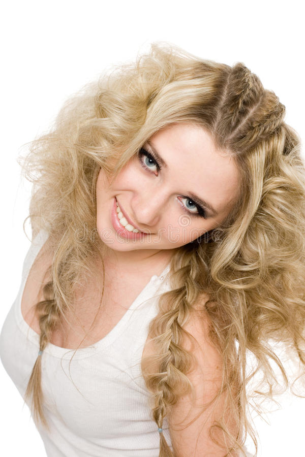 Cheerful young blond girl stock image