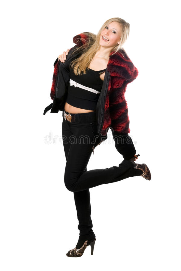 Download Cheerful Young Blond Woman In A Fur Jacket Royalty Free Stock Photos - Image: 17431898