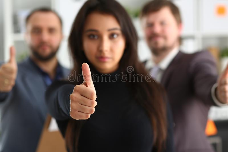 Portrait of cheerful young businessmen in office royalty free stock images