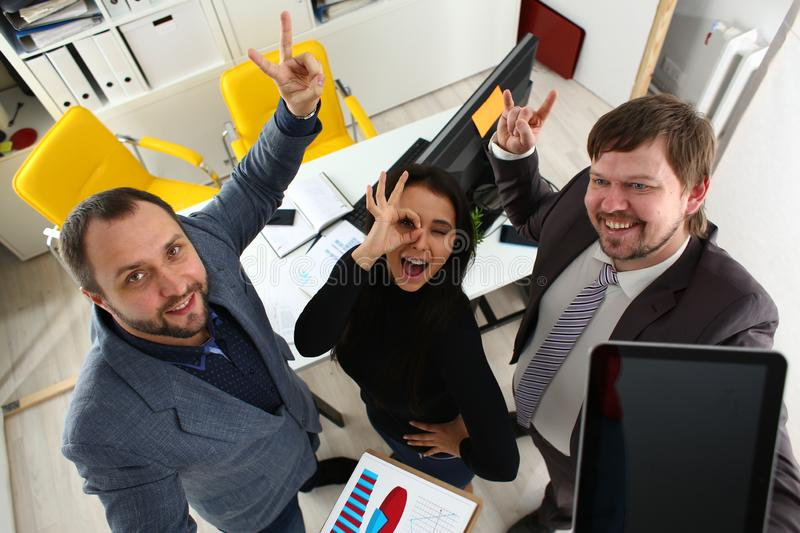 Portrait of cheerful young businessmen in office royalty free stock photography