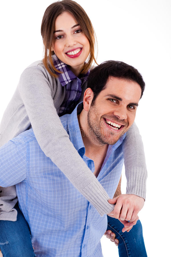 Download Cheerful Young Couple Piggybacking Stock Photo - Image: 12267432