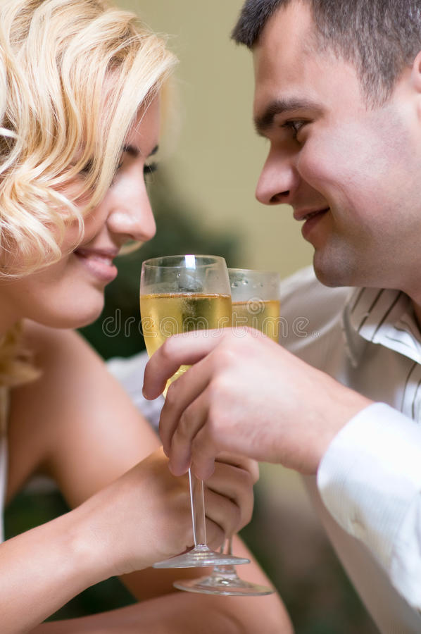 Cheerful young couple in a restaurant stock image