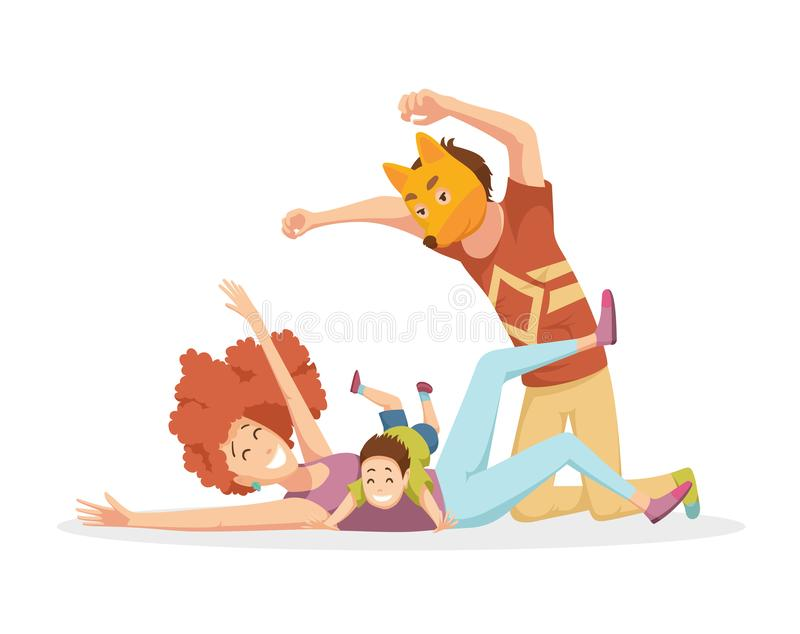 Cheerful young family with kids laughing and have a fun together, parents with children enjoying playing games at home. Father in fox mask stock illustration