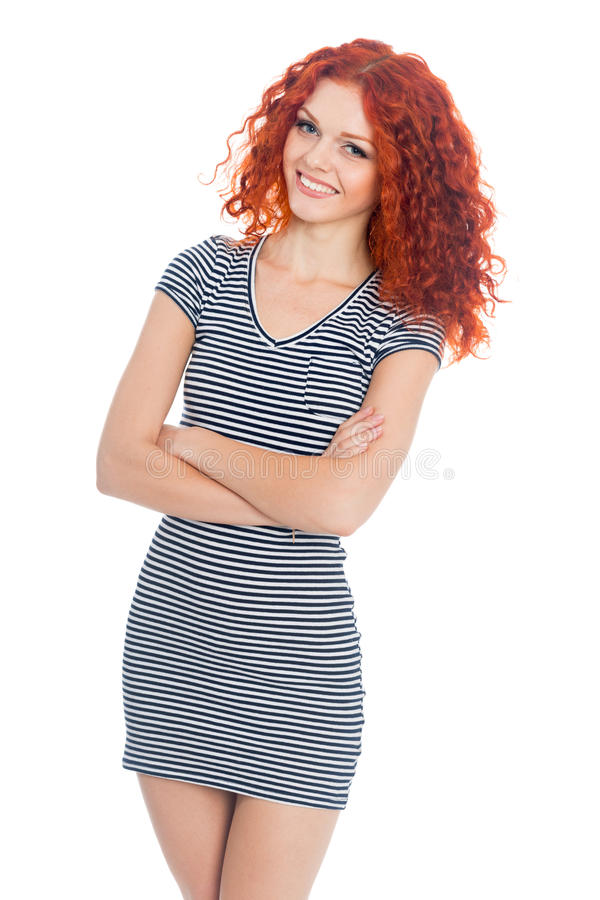 Cheerful young girl in summer dress royalty free stock images