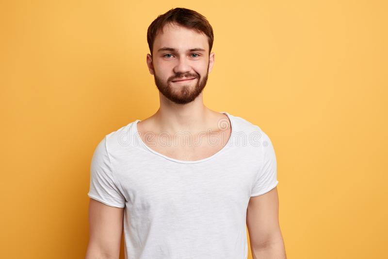 Cheerful young handsome being in high spirit , shares impressions royalty free stock image