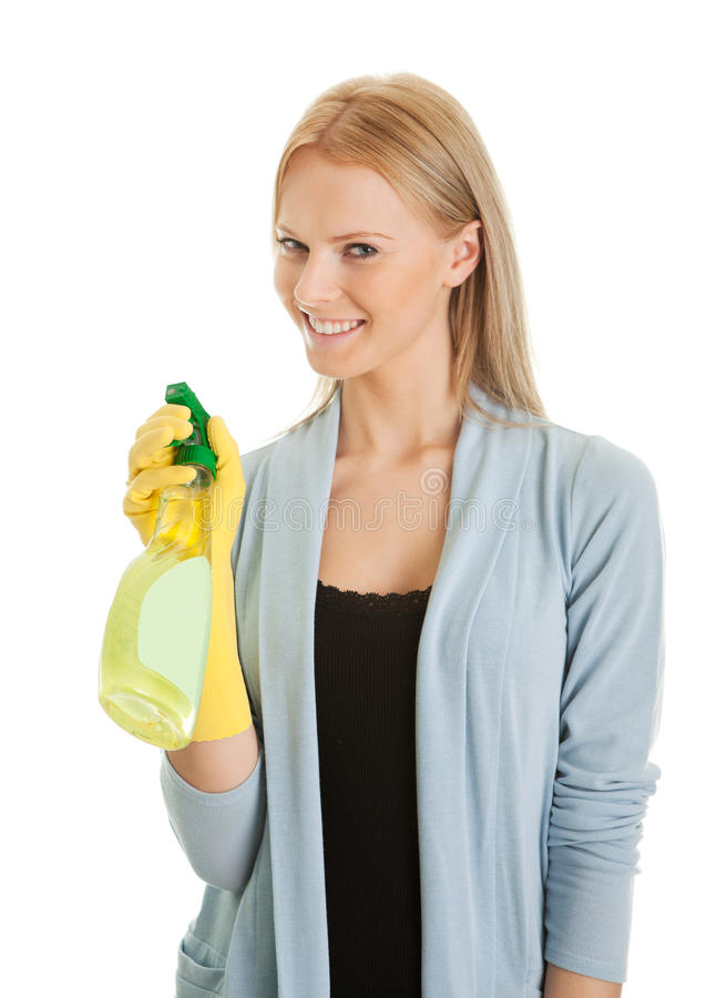 Download Cheerful Young Lady Spraying Cleaner Liquid Stock Photo - Image: 18251018