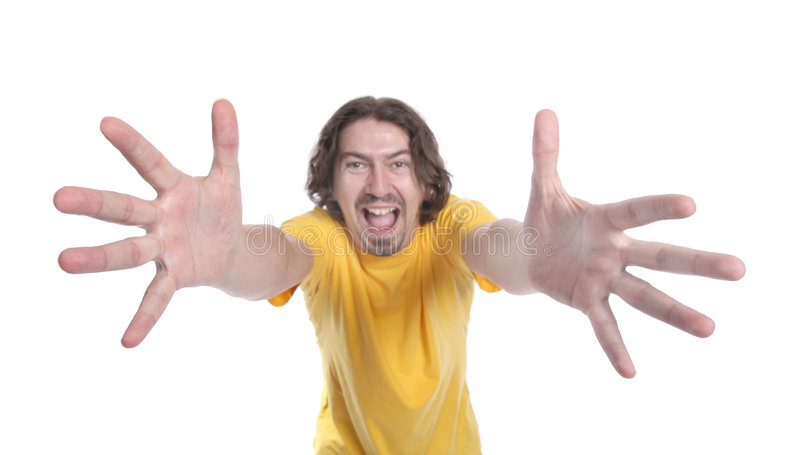 Happy Man With Big Hands Stock Photos