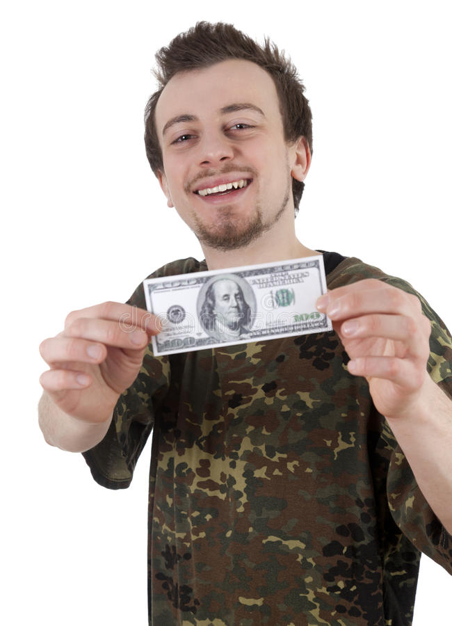 Download Cheerful Young Man Holding One Hundred Dollars Stock Photos - Image: 24072813