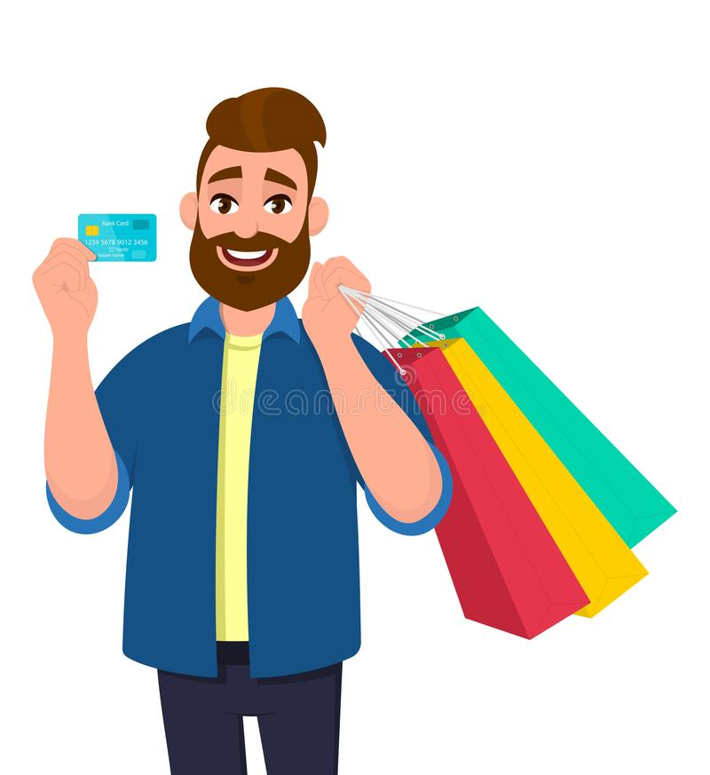 Cheerful young man holding shopping bags. Male character showing a credit, debit, ATM, bank card in hand. Modern lifestyle, stock illustration