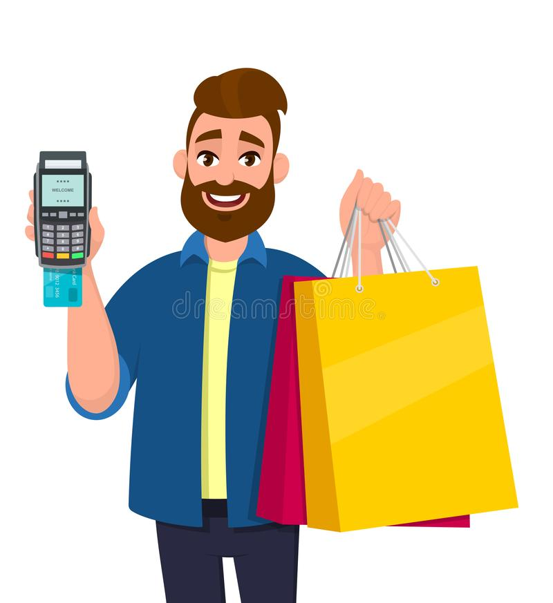 Cheerful young man holding shopping bags. Person showing POS terminal or credit, debit card swiping payment machine in hand. vector illustration